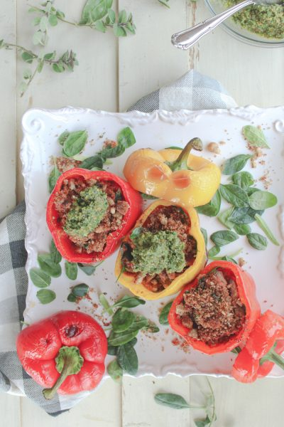 overhead photo of 3 stuffed peppers