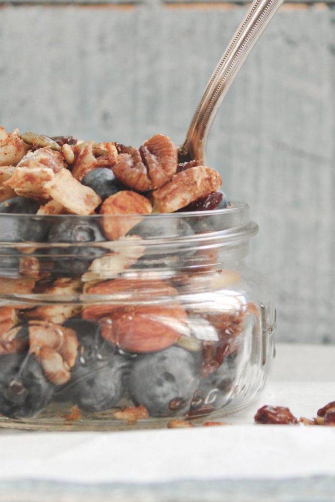 sweet and spicy trail mix with blueberries