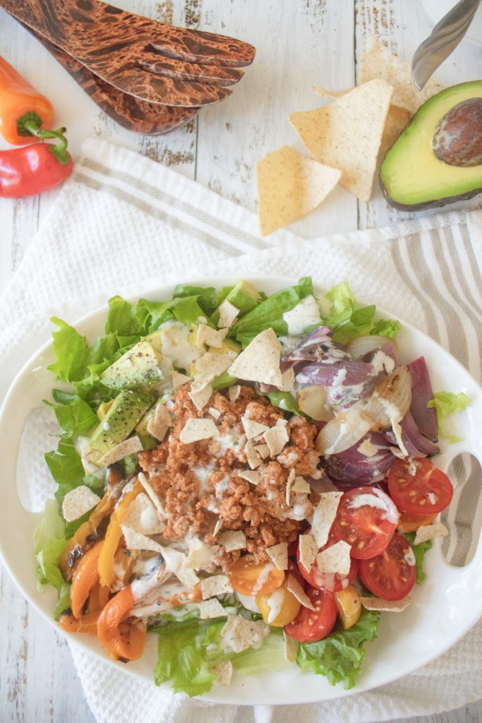 overhead shot of taco salad