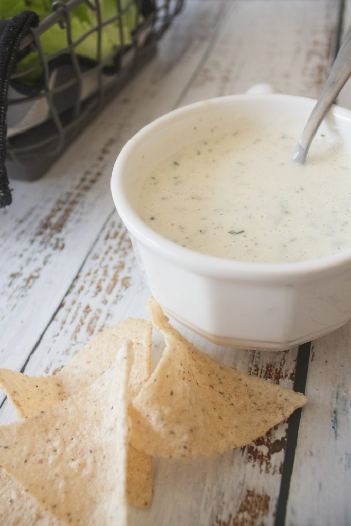 lime ranch dressing with spoon