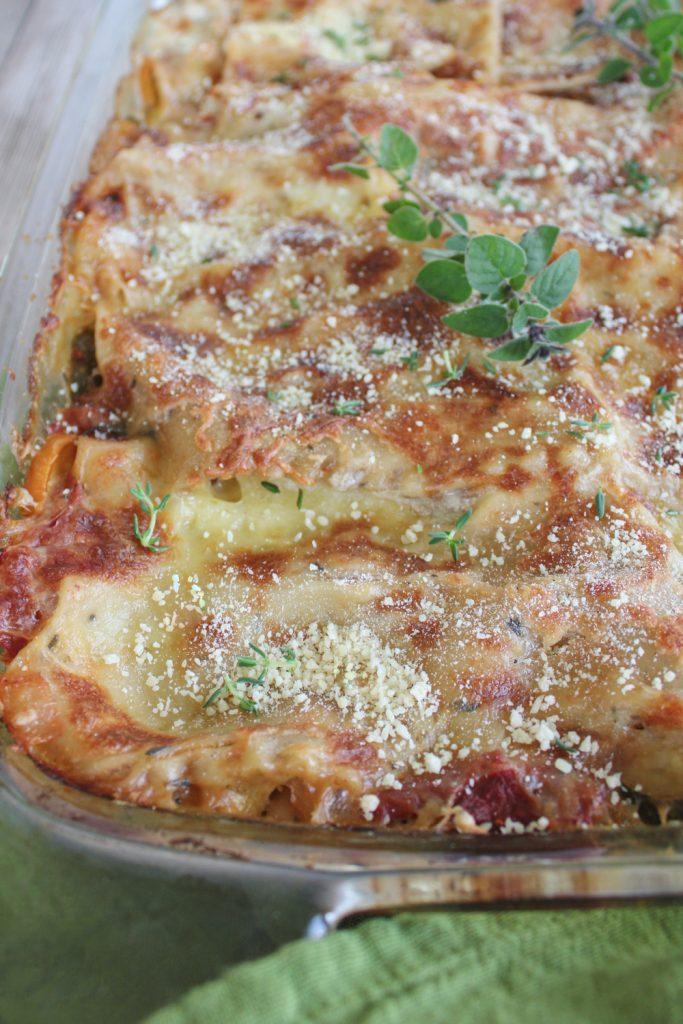 gluten free veggie lasagna in dish