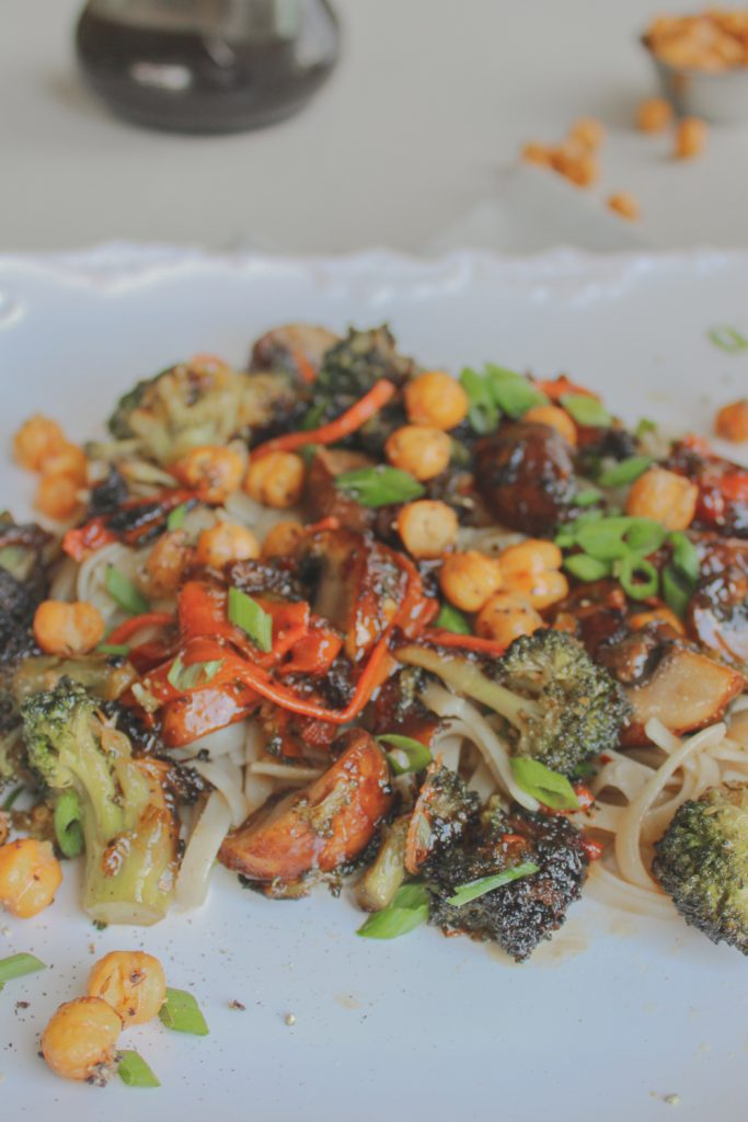 vegetarian Thai over noodles with chickpeas